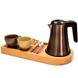 Чайный набор с подносом из натурального дерева