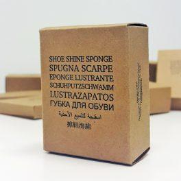 Губка для обуви в картонной упаковке для гостиниц