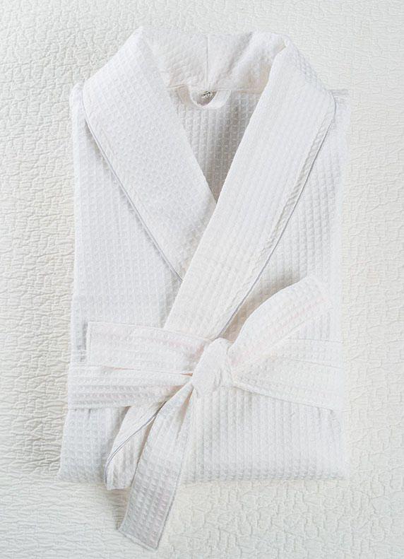 Халат вафельный белый с кантом
