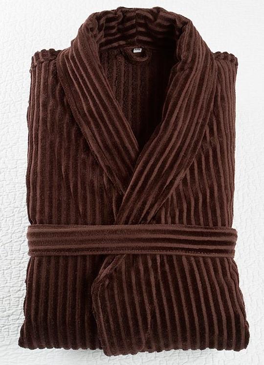 Халат велюровый Lilium коричневый для гостиниц